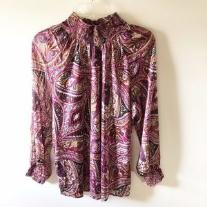CHICOS  size 3 (16)  petite paisley shirt NWT